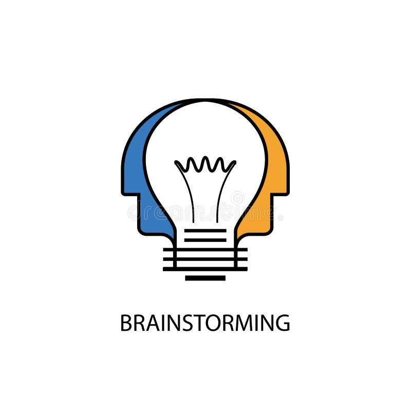 Cabeças humanas e ícone da ampola Logotipo criativo da mente Grou criativo ilustração do vetor