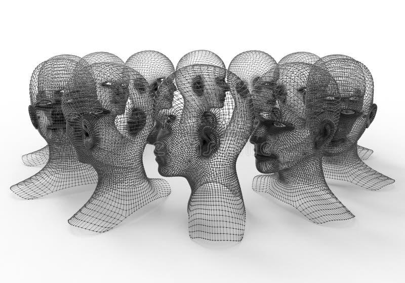 Cabeças humanas - malhas da grade 3D ilustração royalty free