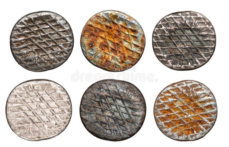 Cabeças oxidadas isoladas do prego foto de stock royalty free