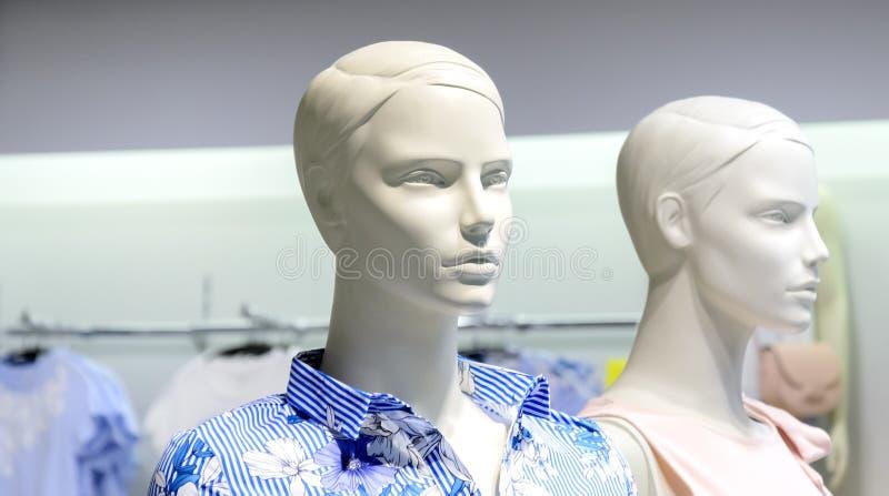 Cabeças plásticas do manequim do close up contra o fundo borrado da loja foto de stock