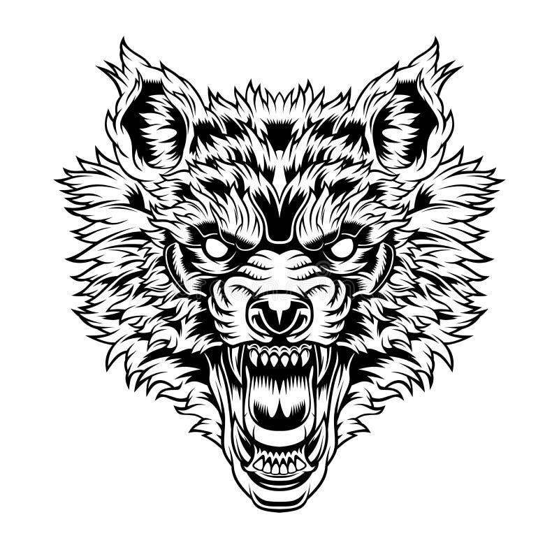Cabe?a de um lobo da rosnadura ilustração royalty free