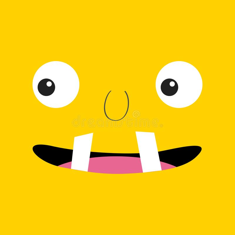 Cabe?a do monstro Boo Spooky enfrenta a emo??o Dois olhos, língua, colmilho dos dentes, rato Cabe?a quadrada Cart?o feliz de Hall ilustração stock