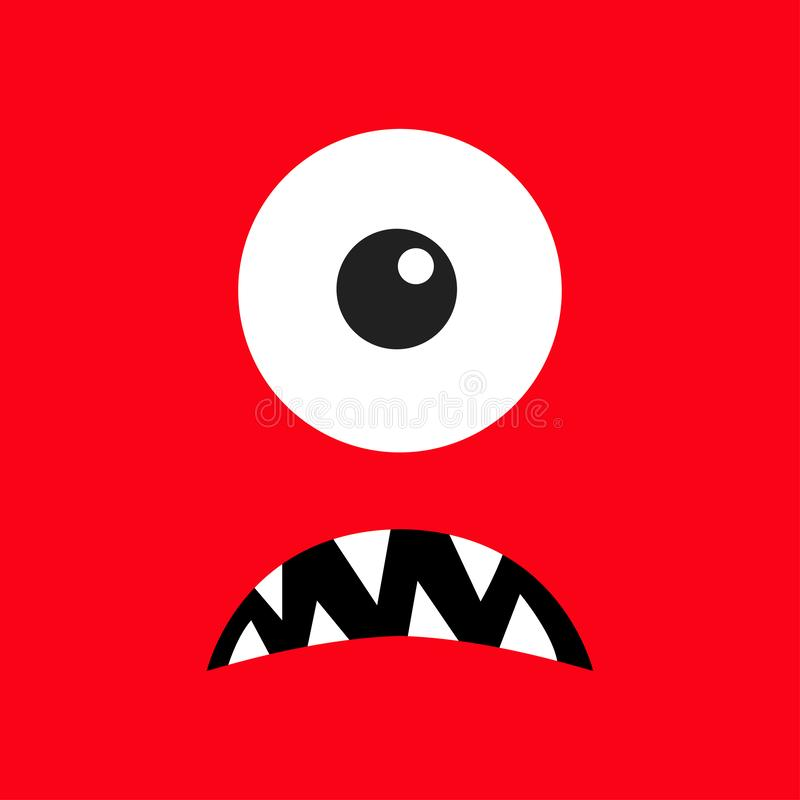 Cabe?a do monstro Boo Spooky Sad enfrenta a emoção Três olhos, colmilho dos dentes, rato Cabe?a quadrada Cart?o feliz de Hallowee ilustração royalty free