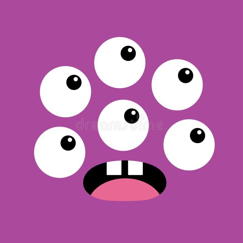 Cabe?a do monstro Boo Spooky Screaming surpreendeu a emoção da cara Muitos olhos, colmilho dos dentes, língua, rato Cabe?a quadra ilustração royalty free