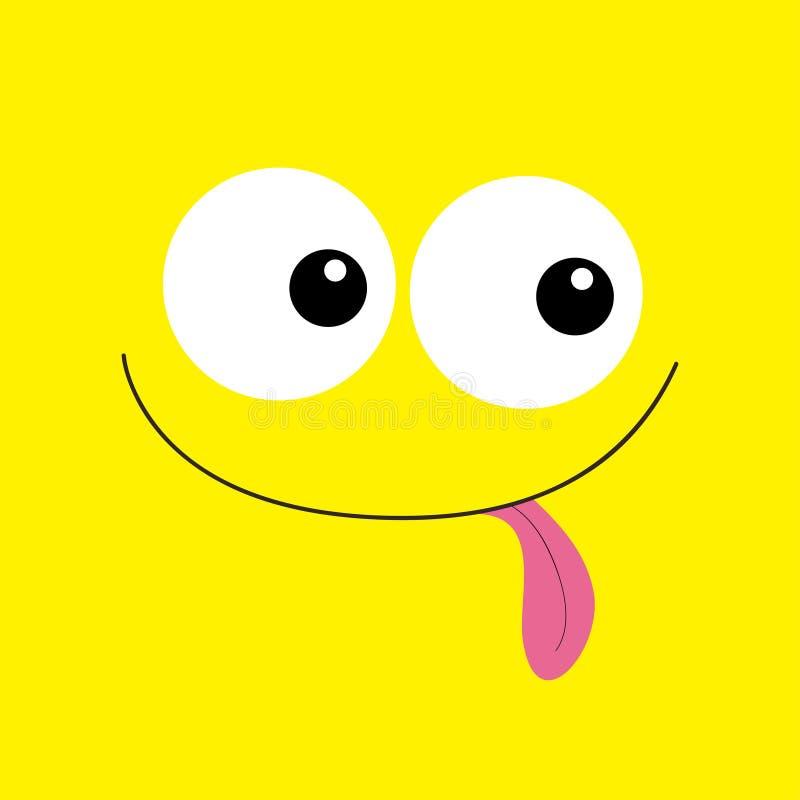Cabe?a do monstro Emoção de sorriso da cara de Boo Spooky Dois olhos, língua da exibição, rato Cabe?a quadrada Cart?o feliz de Ha ilustração stock