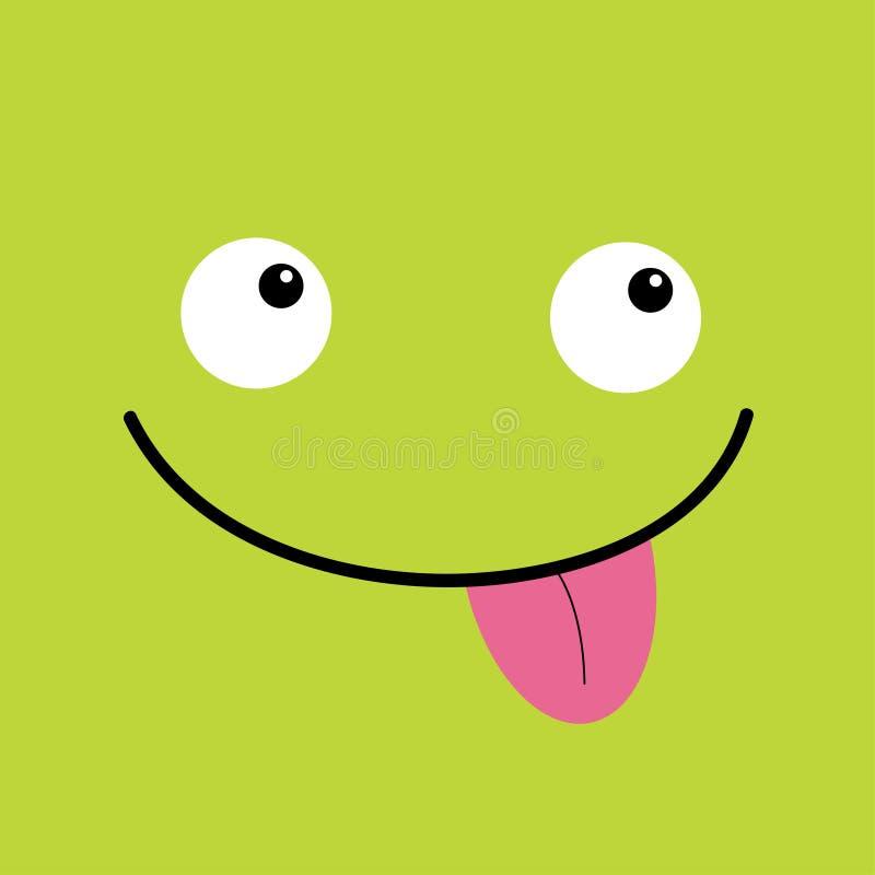 Cabe?a do monstro Emoção de sorriso da cara de Boo Spooky Dois olhos, língua, rato Cabe?a quadrada Cart?o feliz de Halloween Esti ilustração stock