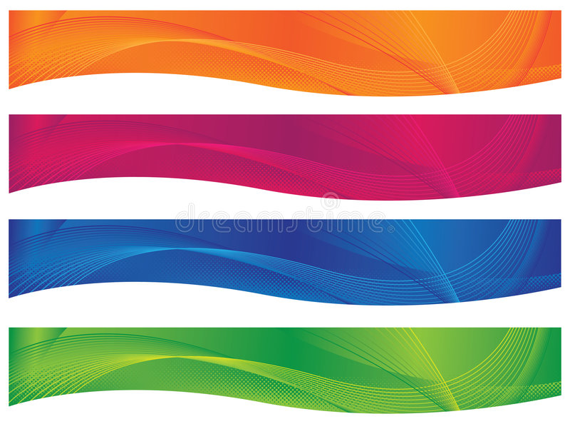Cabeceras/banderas onduladas - Brights libre illustration