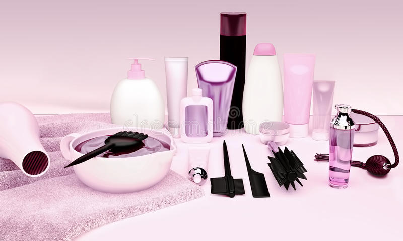 Cabeleireiro Accessories para o cabelo colorindo em uma tabela fotografia de stock royalty free