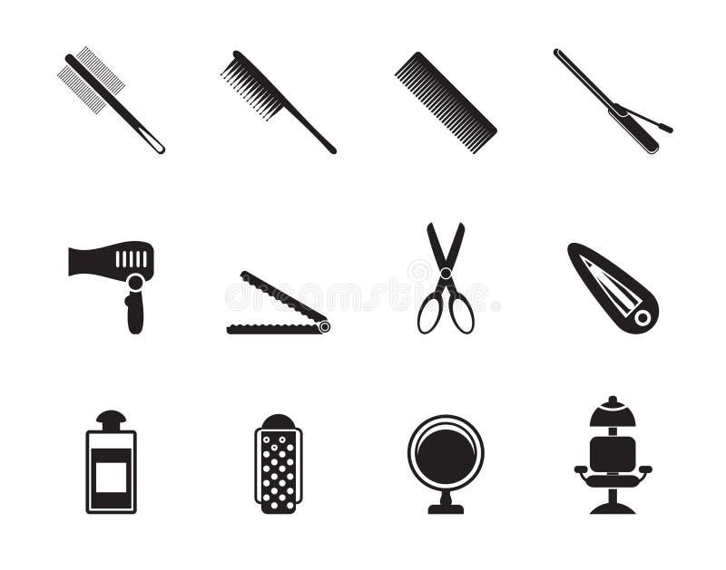 Cabeleireiro da silhueta, corte de cabelo e ícones da composição ilustração royalty free