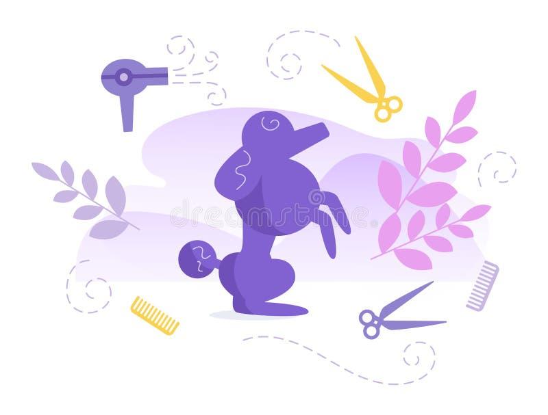Cabeleireiro para o vetor do Groomer dos animais cartoon Arte isolada no fundo branco liso ilustração do vetor