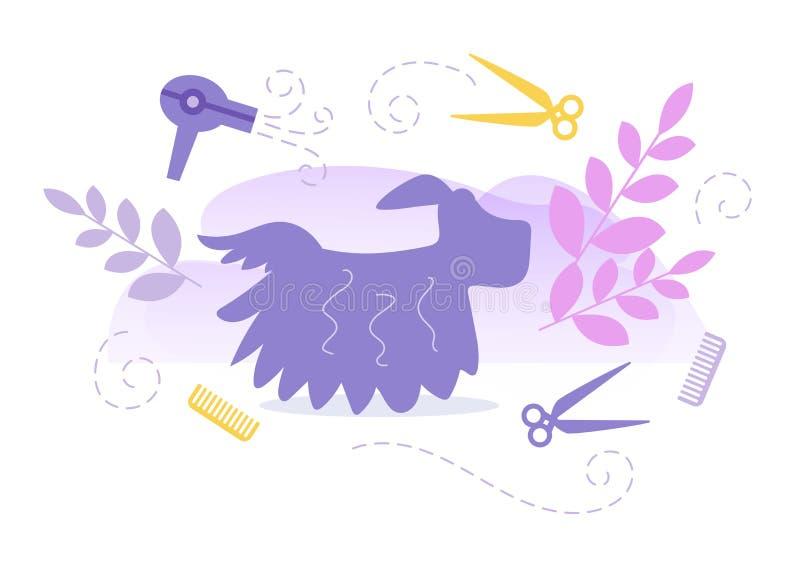 Cabeleireiro para o vetor do Groomer dos animais cartoon Arte isolada no fundo branco liso ilustração royalty free