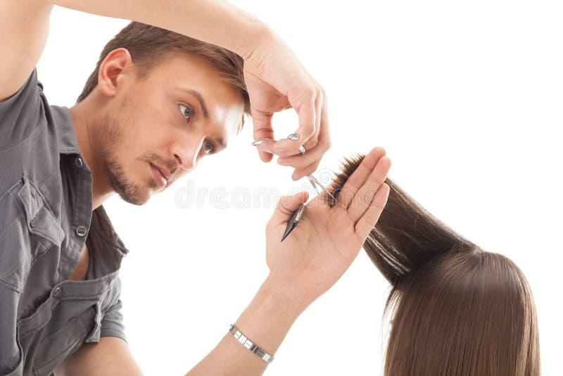 Cabeleireiro profissional com modelo longo do cabelo imagens de stock royalty free