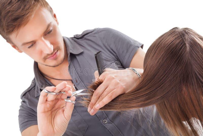 Cabeleireiro profissional com modelo longo do cabelo imagem de stock royalty free