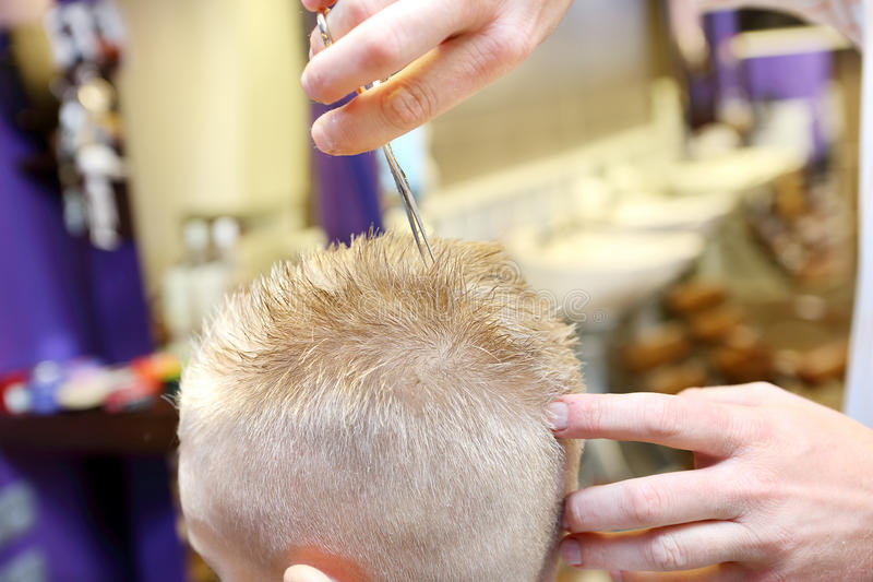 Cabeleireiro que apara o cabelo louro do menino novo foto de stock