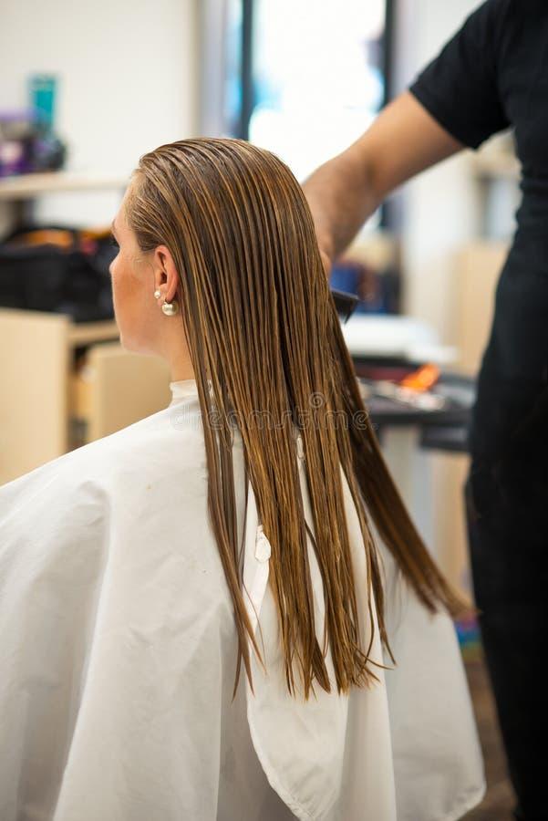 Cabeleireiro que dá um corte de cabelo novo ao cliente fêmea na sala de estar imagens de stock royalty free