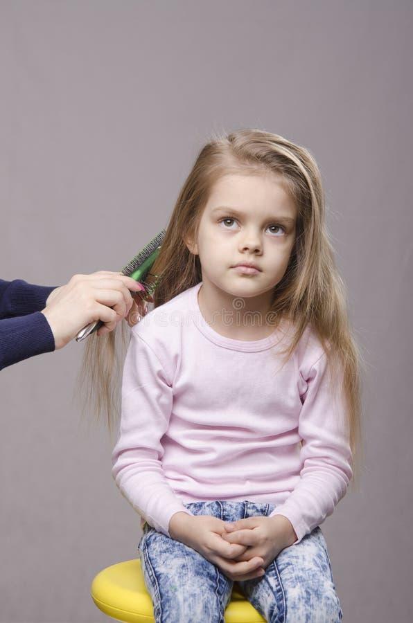Cabeleireiro que escova suas meninas longas do cabelo foto de stock