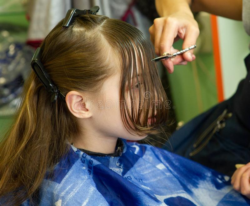 Cabeleireiro que faz um penteado ? menina bonito imagem de stock royalty free