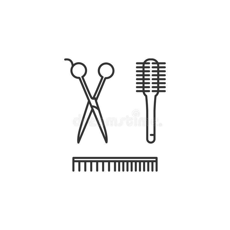 Cabeleireiro Tools - tesouras, pente, escova Ícone do barbeiro, símbolos do cabeleireiro A linha fina projeto da arte, Vector o p ilustração stock