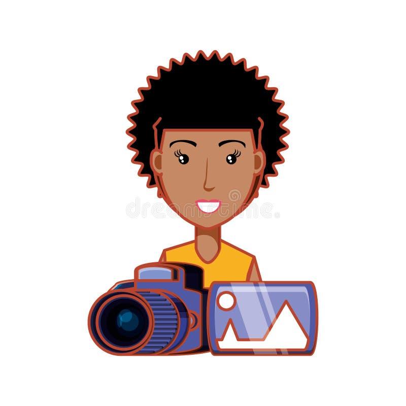 Cabelo afro da mulher com câmera fotográfica e imagem ilustração royalty free