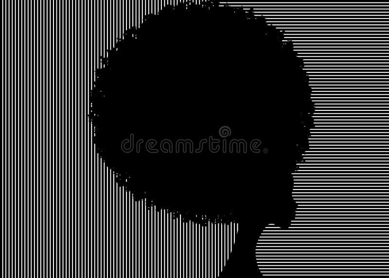 Cabelo afro encaracolado, mulheres africanas do retrato, cara fêmea da pele escura com o afro do cabelo encaracolado, cabelo trad ilustração do vetor