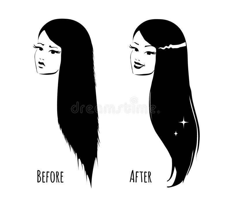 Cabelo antes e depois ilustração do vetor