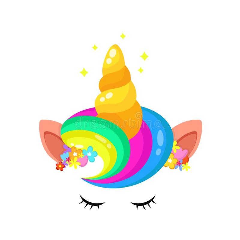 Cabelo bonito e chifre do arco-íris do unicórnio ilustração stock
