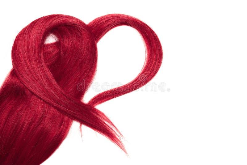 Cabelo cor-de-rosa na forma do coração, isolada no fundo branco fotos de stock