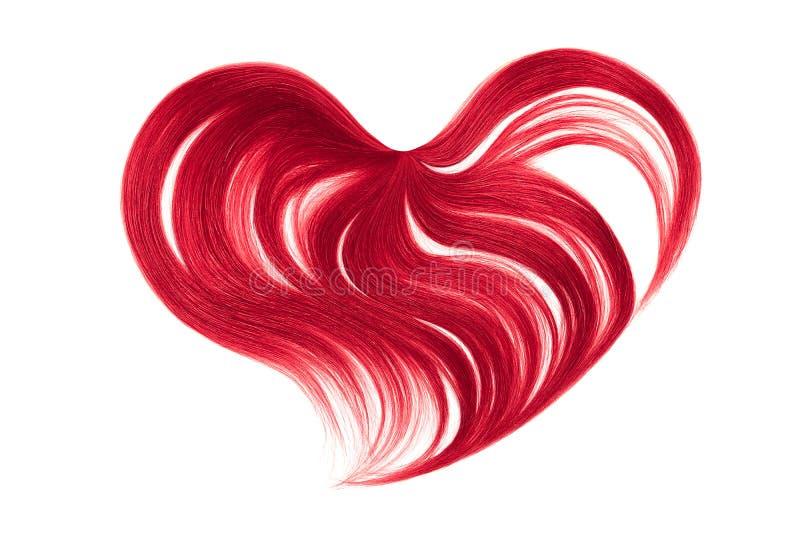 Cabelo cor-de-rosa na forma do coração, isolada no fundo branco fotografia de stock