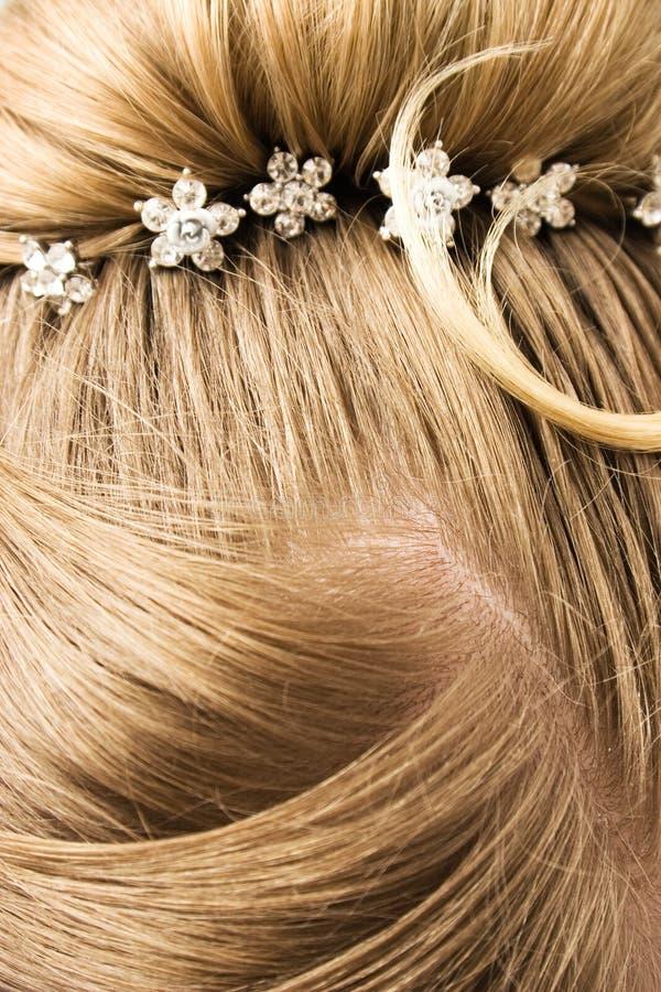Cabelo da mulher com gancho de cabelo foto de stock