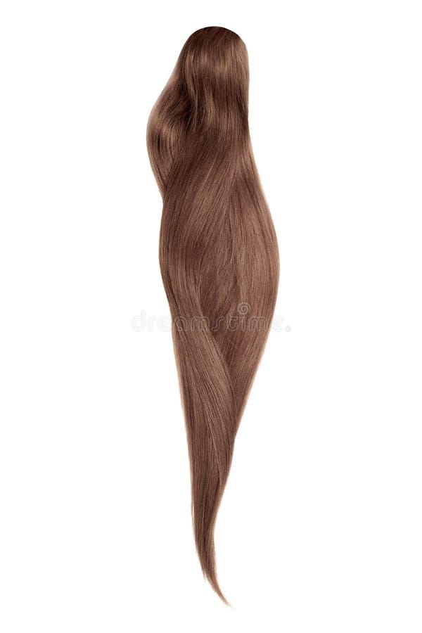 Cabelo de Brown, isolado no fundo branco Rabo de cavalo bonito longo fotografia de stock