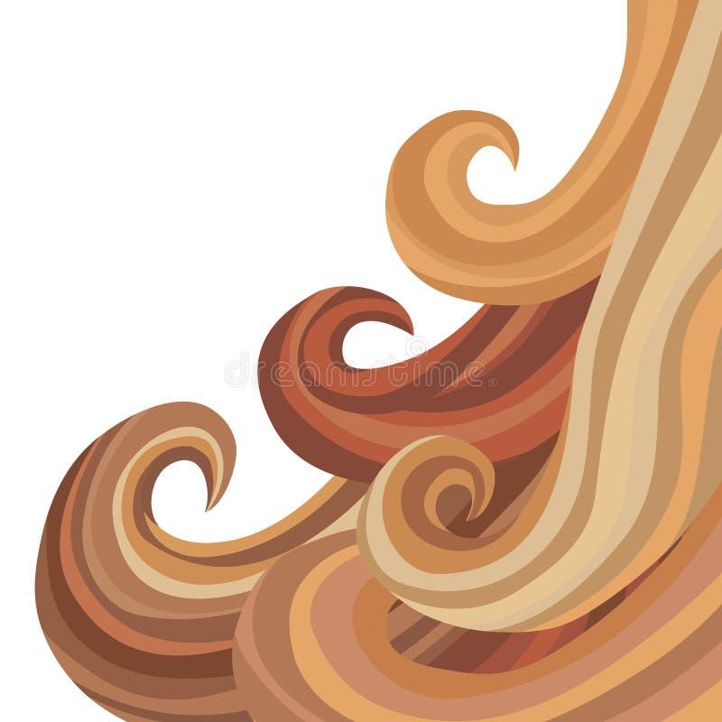 Cabelo de fluxo fêmea ilustração do vetor