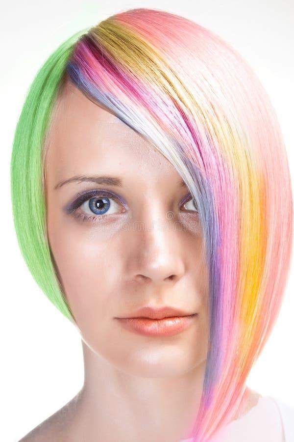 Cabelo de Rainbowed fotografia de stock