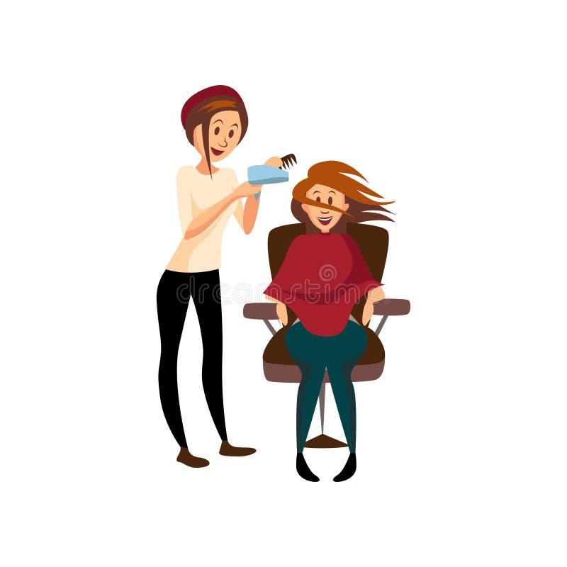 Cabelo de secagem da mulher do cabeleireiro para seu cliente com o secador da escova de cabelo e de cabelo, cabeleireiro profissi ilustração do vetor