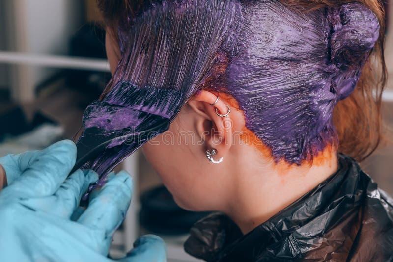 Cabelo de tingidura do cabeleireiro profissional de seu cliente no salão de beleza Foco seletivo imagem de stock royalty free