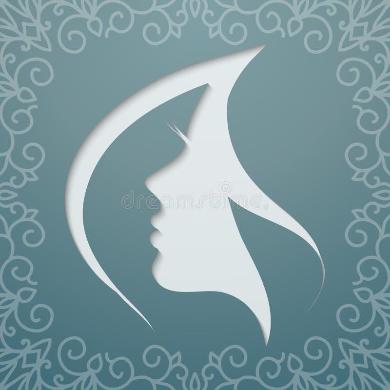 Cabelo de vibração do perfil fêmea ilustração royalty free