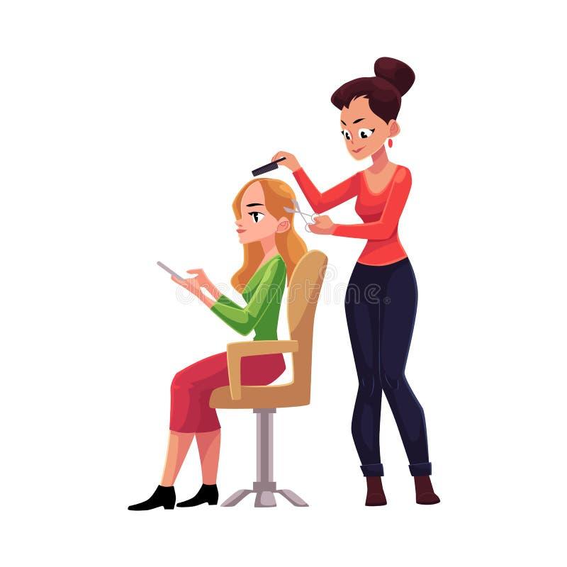 Cabelo do corte do cabeleireiro, fazendo o corte de cabelo para a mulher no salão de beleza ilustração royalty free