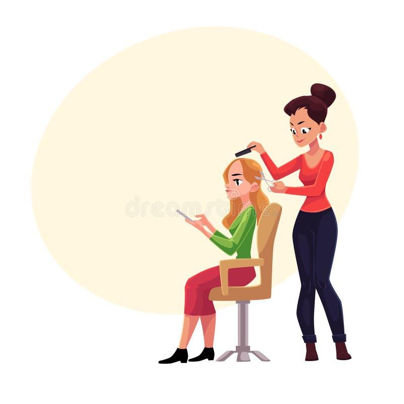 Cabelo do corte do cabeleireiro, fazendo o corte de cabelo para a mulher no salão de beleza ilustração do vetor