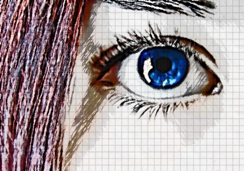 Cabelo Dos Olhos Azuis E Do Vermelho Imagens de Stock