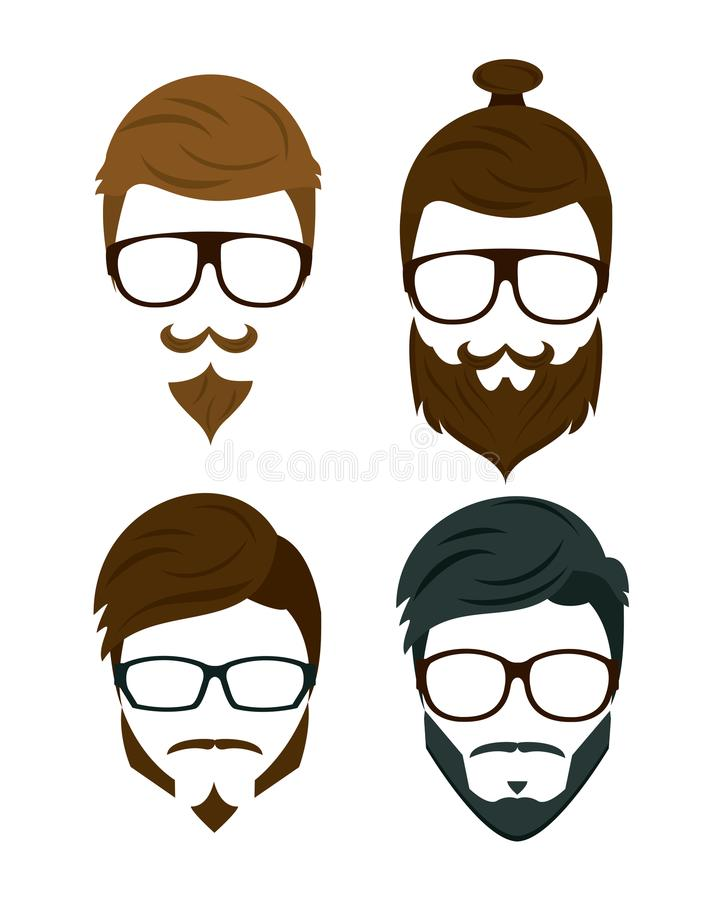 Cabelo e acessórios da barba do moderno ilustração stock