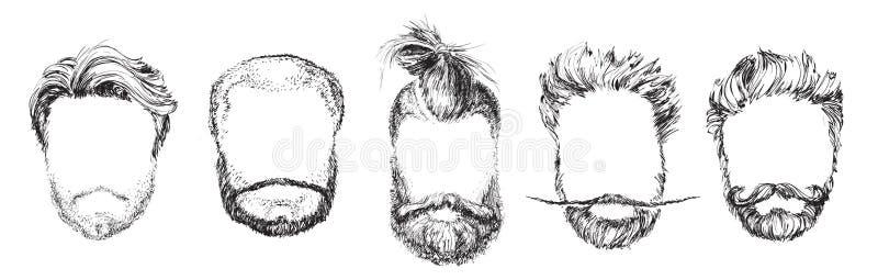 Cabelo e barbas, grupo da ilustração do vetor da forma ilustração stock
