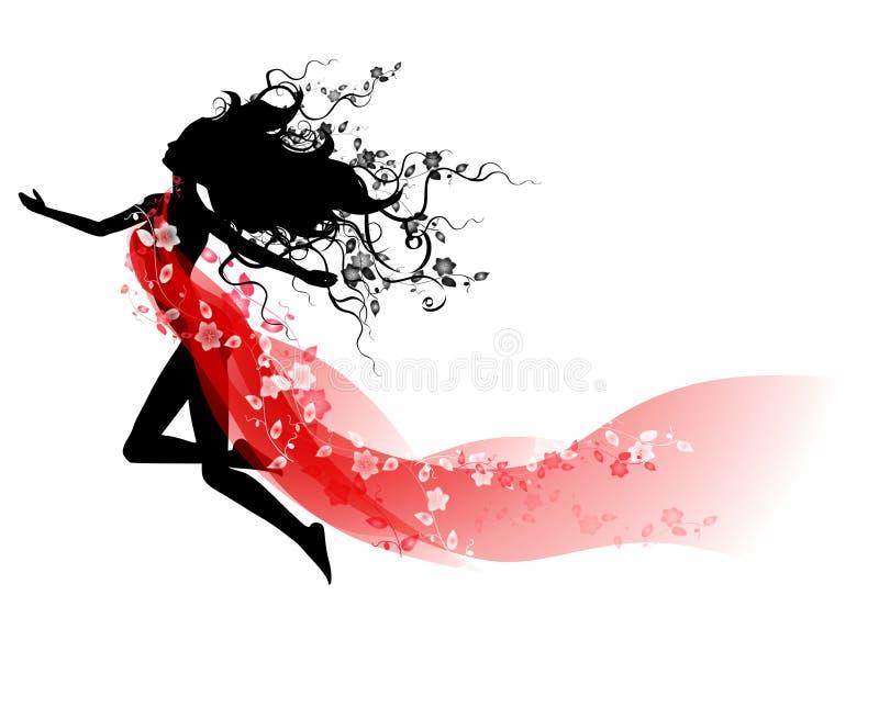 Cabelo e seda de florescência longos G ilustração stock