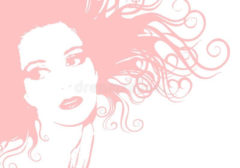Cabelo fêmea cor-de-rosa macio da face ilustração royalty free
