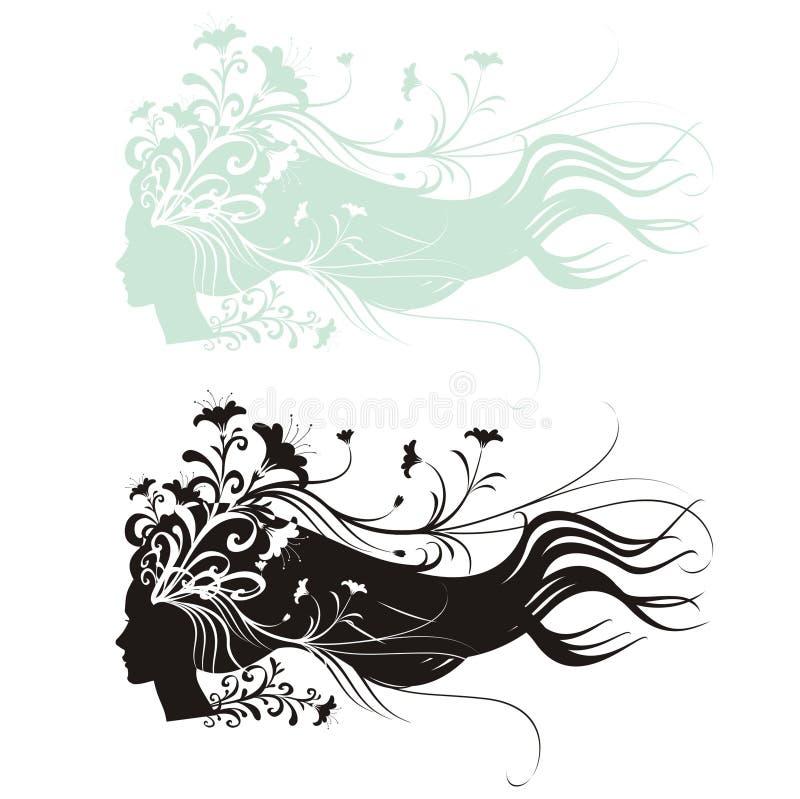 Cabelo floral ilustração royalty free