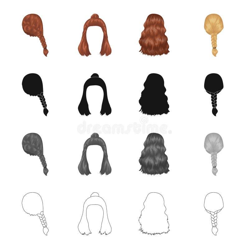 Cabelo, longo, coque, e o outro ícone da Web no estilo dos desenhos animados Barbeiro, corte de cabelo, fechamentos, ícones na co ilustração royalty free