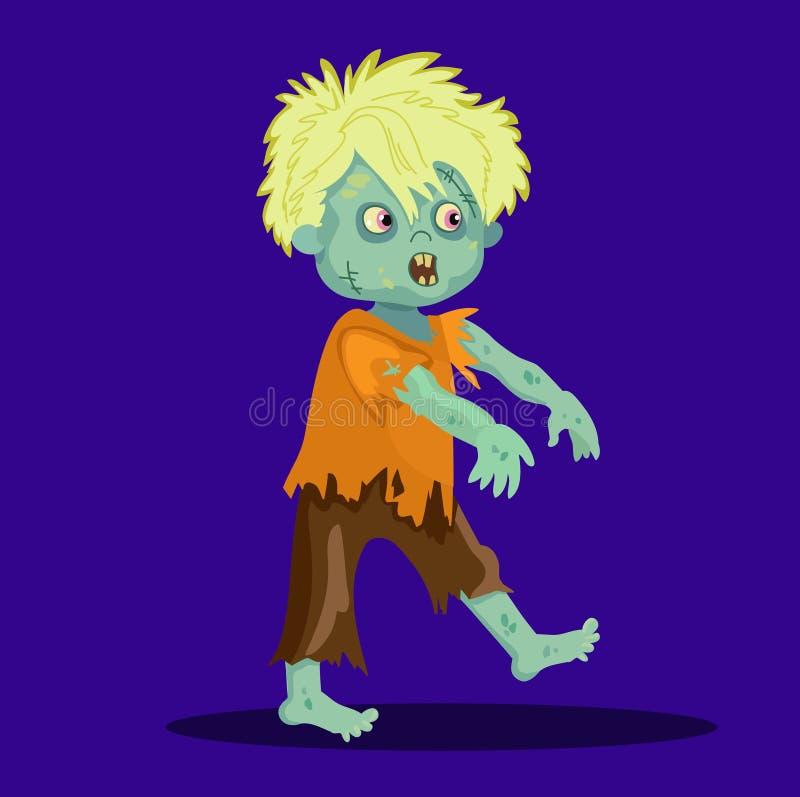 Cabelo louro do menino feliz bonito do zombi ilustração stock