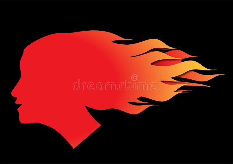 Cabelo no incêndio ilustração royalty free