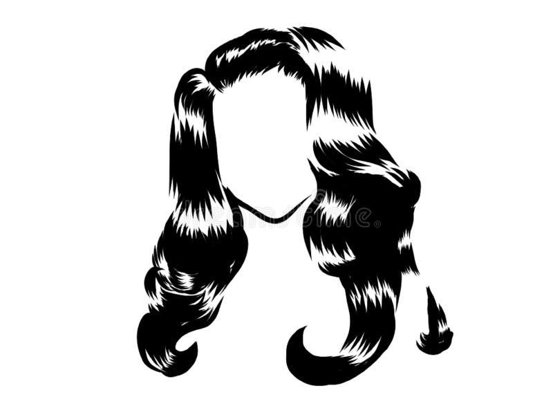 Cabelo preto da mulher da cara no fundo branco ilustração royalty free