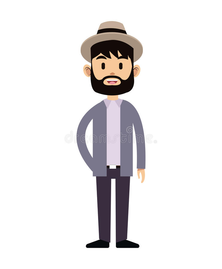 Cabelo preto do chapéu da barba do homem novo do moderno ilustração royalty free
