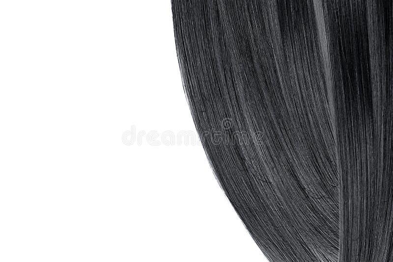 Cabelo preto, isolado no fundo branco Espaço liso da configuração e da cópia fotografia de stock