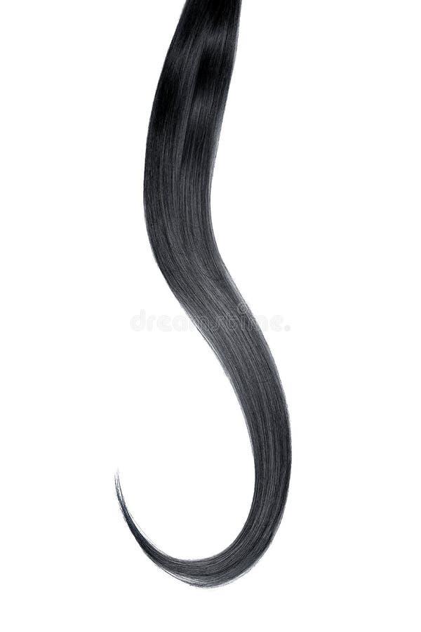 Cabelo preto isolado no fundo branco Rabo de cavalo bonito longo fotografia de stock
